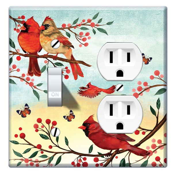 Wirester Double 1 Gang Toggle Light And 1 Gang Duplex Outlet Switch Plate Wall Plate Cover Red Cardinal Birds Walmart Com Walmart Com