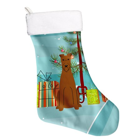 Merry Christmas Tree Irish Terrier Christmas Stocking BB4187CS