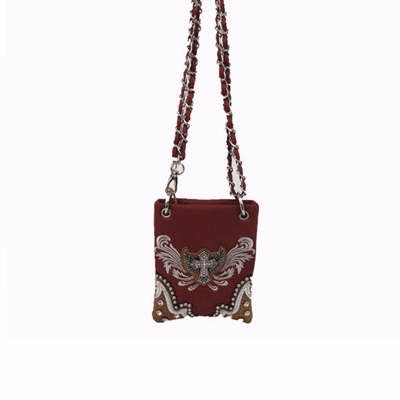 Image of Crossbody Bag w/Small Studded Cross And Wing-Brown