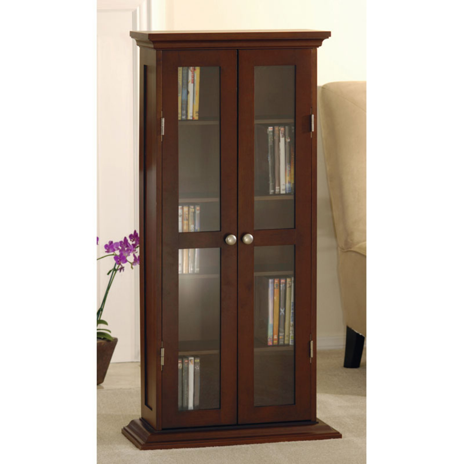 Wood And Glass DVD / CD Cabinet, Walnut