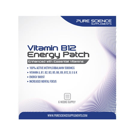 Pure Science TRANSDERMAL VITAMIN B12 PATCHES - 5000MCG METHYLCOBALAMIN ENHANCED WITH ESSENTIAL VITAMINS - 6 WEEKS (Best Vitamin B12 Methylcobalamin)