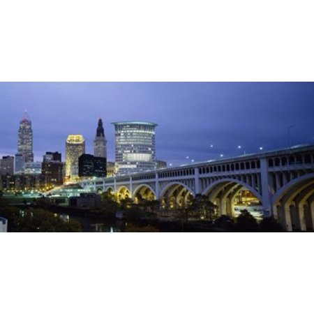 Bridge in a city lit up at dusk Detroit Avenue Bridge Cleveland Ohio USA Poster Print](Party City In Ohio)