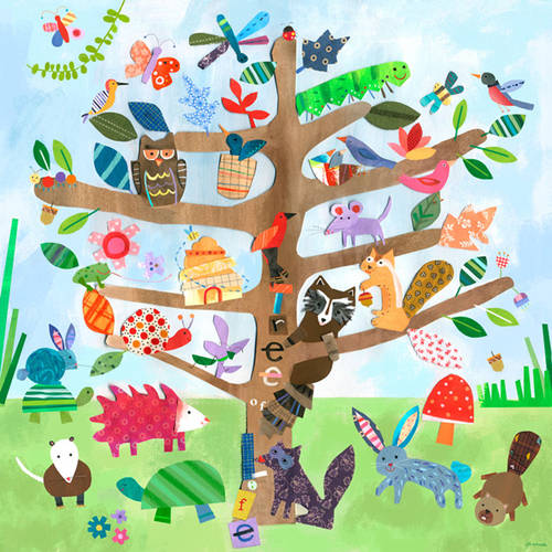 Oopsy Daisy's Tree of Life- Critters Canvas Wall Art, 14x14
