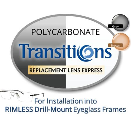 Single Vision Transitions Polycarbonate Prescription Eyeglass Lenses, Left and Right (One Pair), for installation into your own Rimless (drill-mounted) Frames, Anti-Scratch Coating