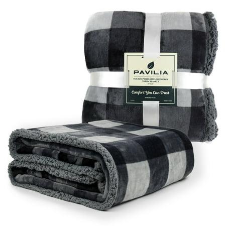 PAVILIA Premium Sherpa Fleece Throw Blanket | Soft, Plush, Fuzzy Throw | Reversible Warm Cozy Microfiber Solid Blanket for Couch Sofa (50x60 Inches) 50x60 Micro Raschel Throw Blanket