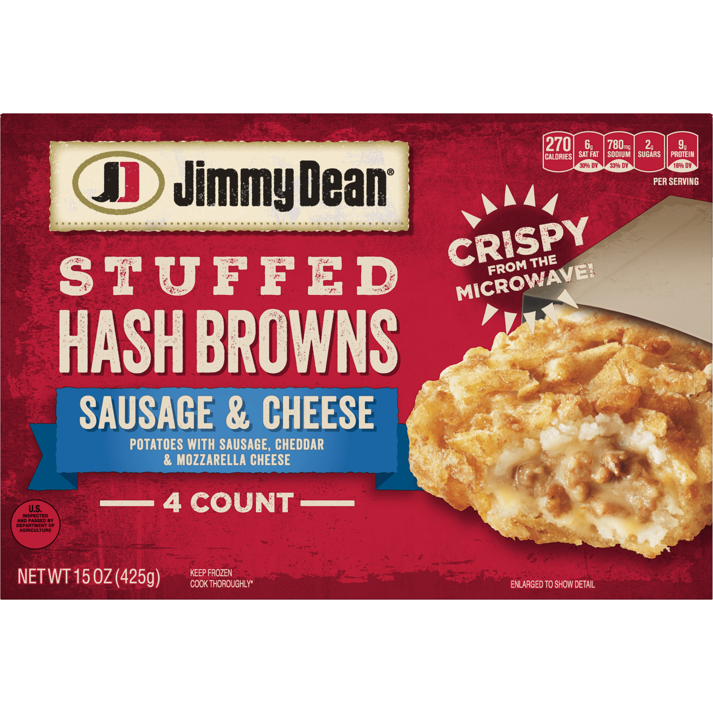 Jimmy Dean® Sausage & Cheese Stuffed Hash Browns, 4 Count (Frozen)