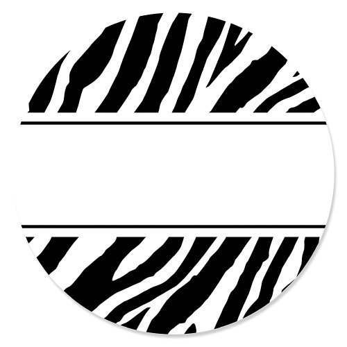 Zebra - Party Circle Sticker Labels - 24 Count