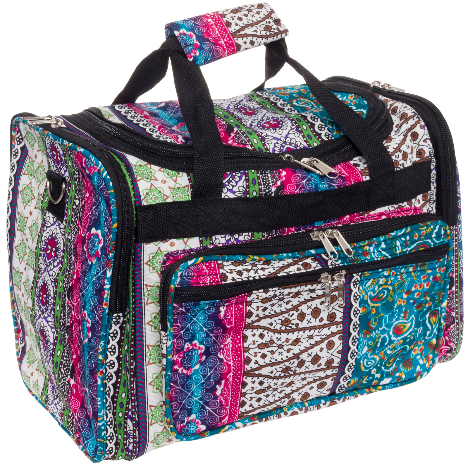 "SILVERHOOKS NEW Bohemian 16"" Inch Duffel Carry-On Travel Gym Bag w/ Black Trim"
