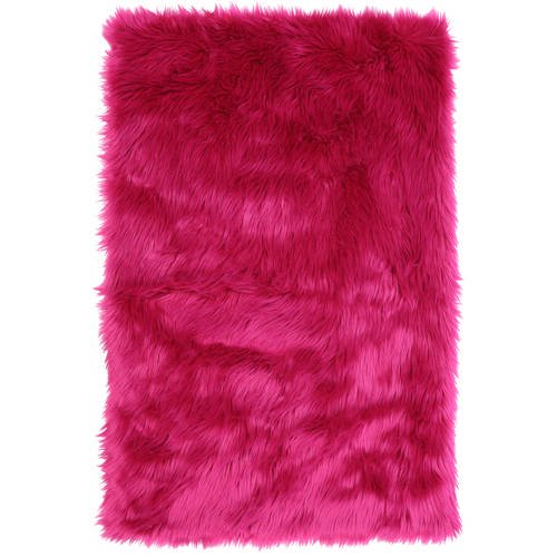 Your Zone 30x46 Flokati Pink Rug