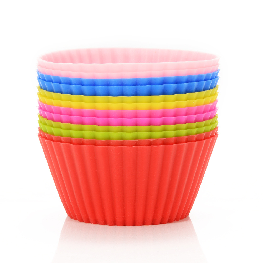 12pcs Baking Mini Muffin Cups Reusable Silicone Cupcake Molds Small Baking Cups Truffle Cake Pan Set Nonstick in 6 Colors Silicone Cupcake Liners
