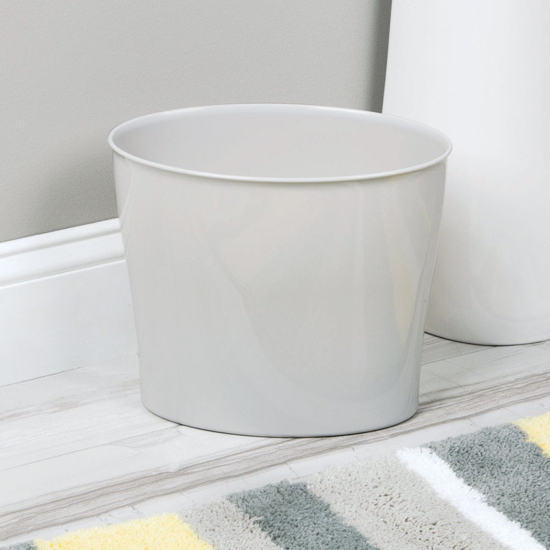 InterDesign 94031 Nuvo Oval Wastebasket Trash Can, White