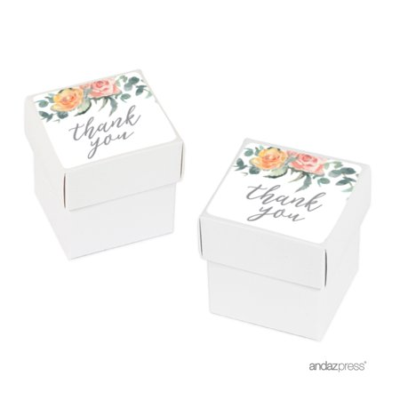 Peach Coral Floral Garden Party Baby Collection, Baby Shower Thank You, 20-Pack Favor Box DIY