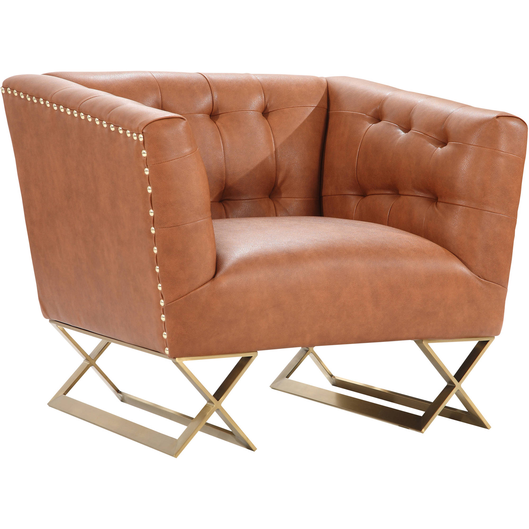 ARMEN LIVING Jasper Modern Chair, Gold Matte Finish With Chestnut
