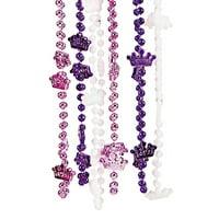 Fun Express - Princess Crown Beaded Necklaces - Jewelry - Mardi Gras Beads - Mot Shaped - 12 Pieces