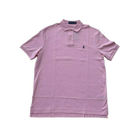 Ralph Lauren Polo Mens Soft Touch Pony Logo Mesh Shirt Pink/Blue New (Pink,L)