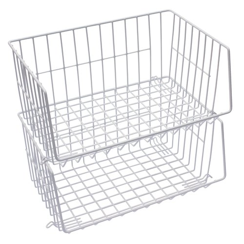 Mainstays Stacking Baskets, White, 2pk