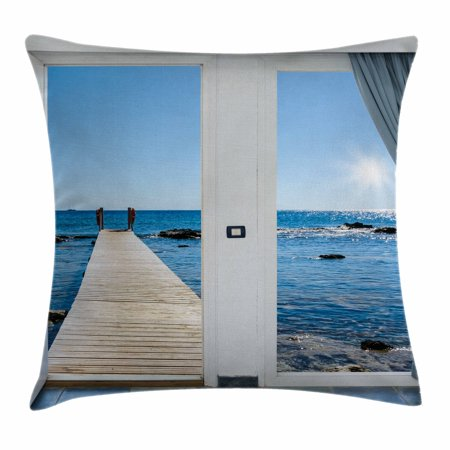 Beach Theme Decor Throw Pillow Cushion Cover, Coastal Decor Ocean Sea Sunny Scenery with Patio from Window, Decorative Square Accent Pillow Case, 18 X 18 Inches, Light Blue and White, by Ambesonne ()