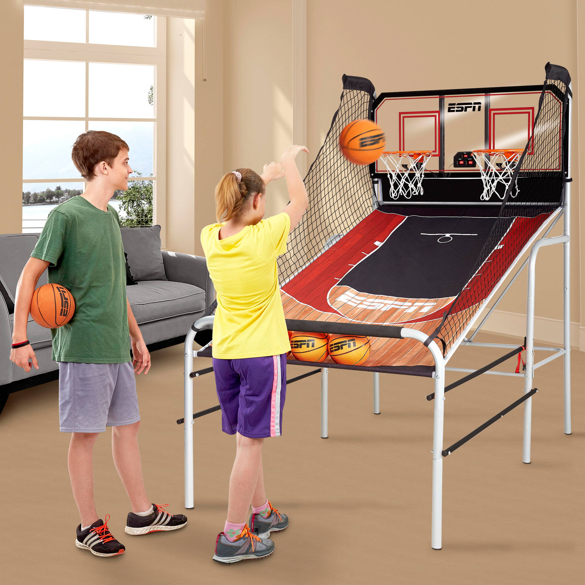 ESPN Premium 2-Player Basketball Game with Authentic Clear Backboard