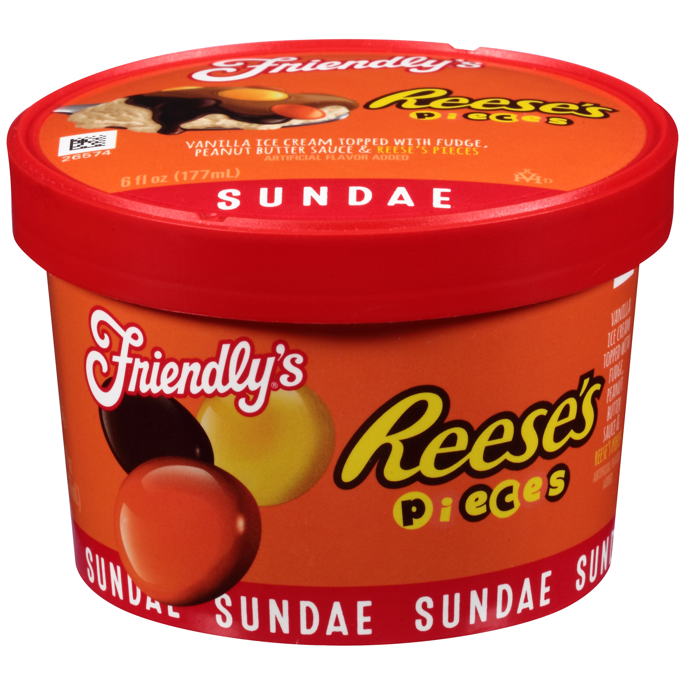 Friendly's® Reese's® Pieces® Sundae Ice Cream 6 fl. oz. Cup