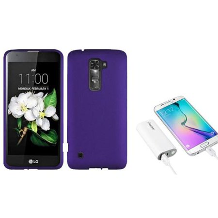 hot sale online f0af0 a6b97 Insten Hard Rubberized Cover Case For LG K7 / Tribute 5 - Purple (+ 5200mAh  Portable Battery Charger)