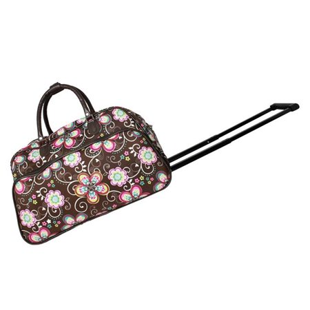 World Traveler 8112022-161 21 in. Carry on Rolling Duffel Bag - Brown Daisy - image 1 de 1