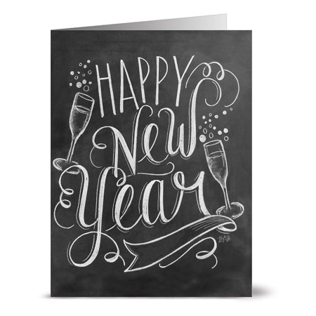 24 Chalkboard Note Cards - Bubbly Happy New Year - Blank Cards - Kraft Envelopes Included
