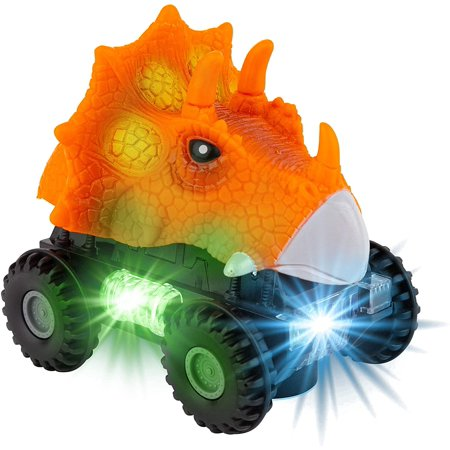 Toy To Enjoy Dinosaur Car with LED Lights & Sound – Animal Vehicle Toys for Kids & Toddlers – Light Up Dino Cars for Age 2-8 Years – Kids Dinosaur Toys (Orange) Animal Sounds Tot Tower