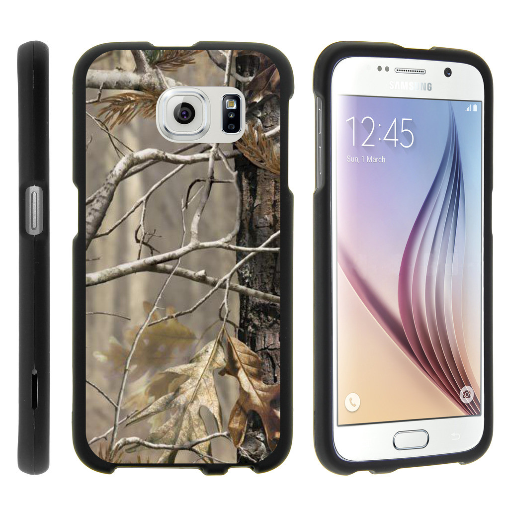 Samsung Galaxy S6 Edge G925, [SNAP SHELL][Matte Black] 1 Piece Snap On Rubberized Hard Plastic Cell Phone Cover with Cool Designs - Fallen Leaves Camouflage