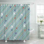 CYNLON Red White Retro Airplane Pattern Blue Patriotic Pilot Flight Bathroom Decor Bath Shower Curtain 66x72 inch