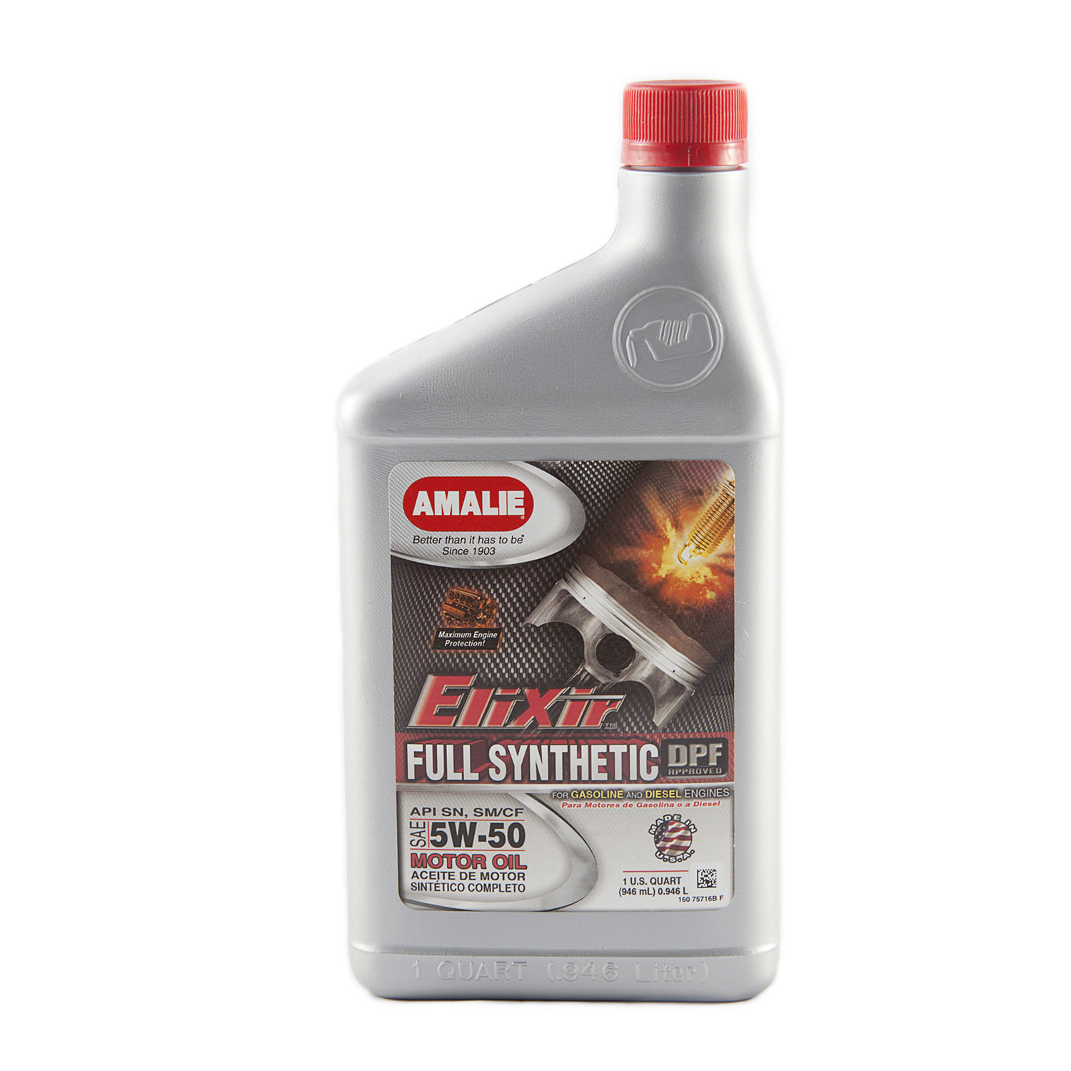 Amalie Elixir 5W50 Motor Oil 1 qt Case Of 12 P N 160-75716-56 by Amalie