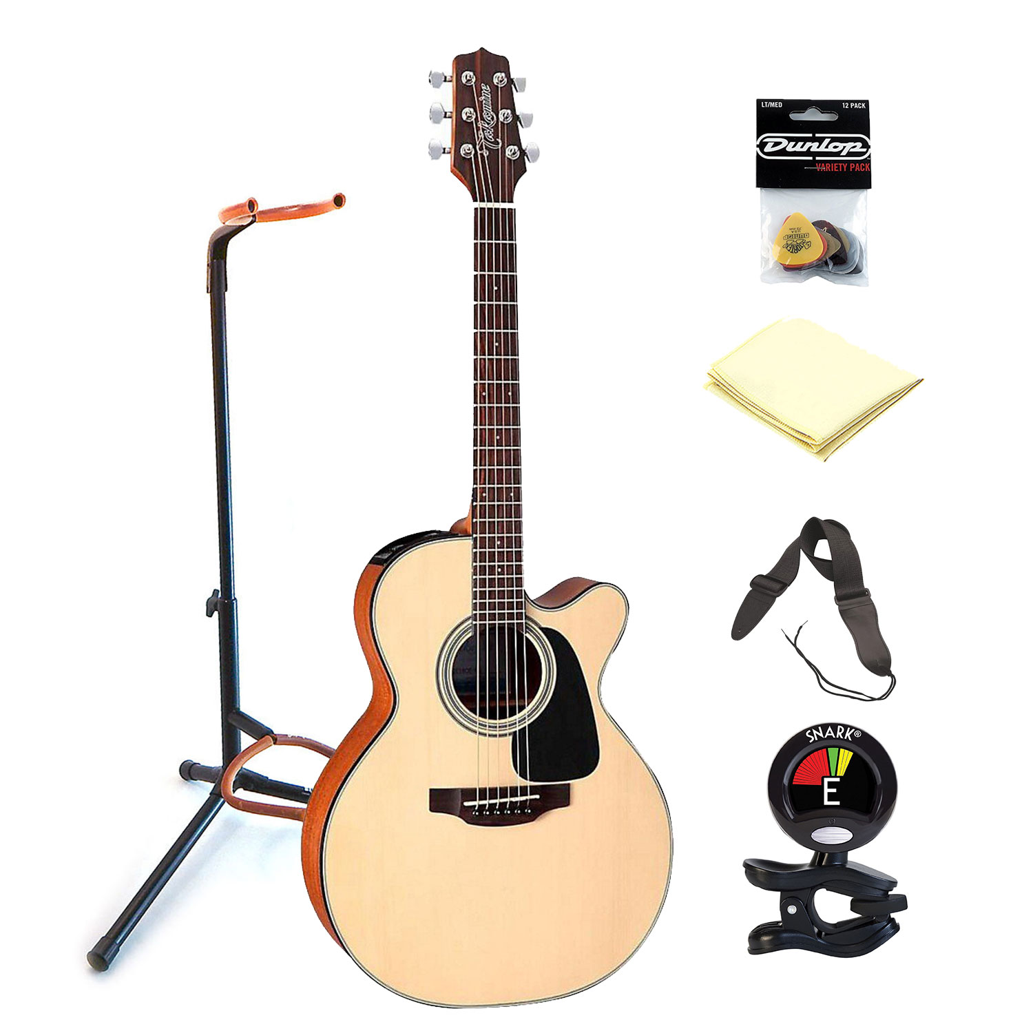 Takamine GX18CE Taka-Mini 6 Strings Solid Spruce 3/4 Size Acoustic Electric Guitar with Gig Bag with Clip On Tuner, Guitar Stand, Guitar Strap, Guitar Picks and Zorro Sounds Guitar Cloth