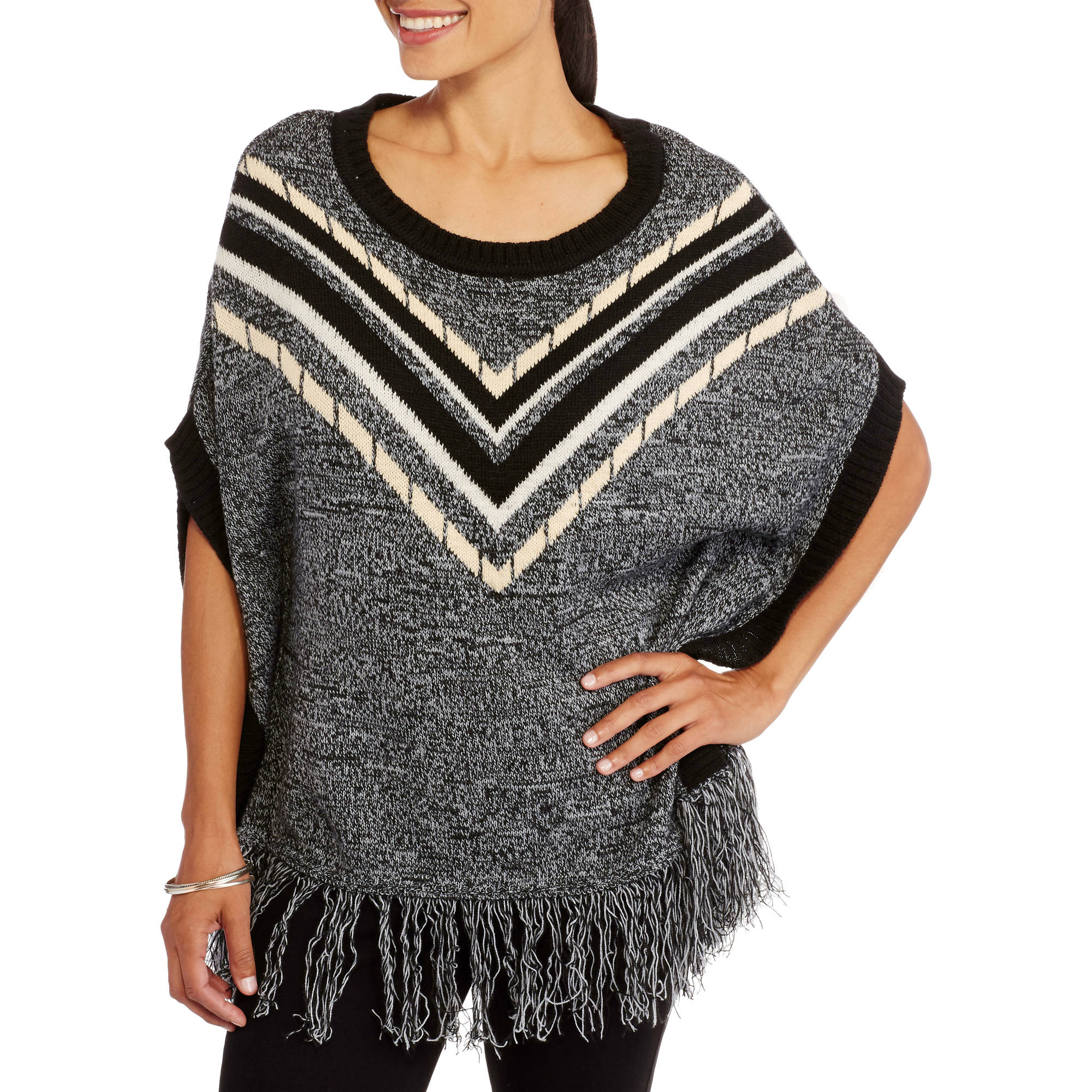 Samantha Rose Women's Crew Neck Poncho with Fringe