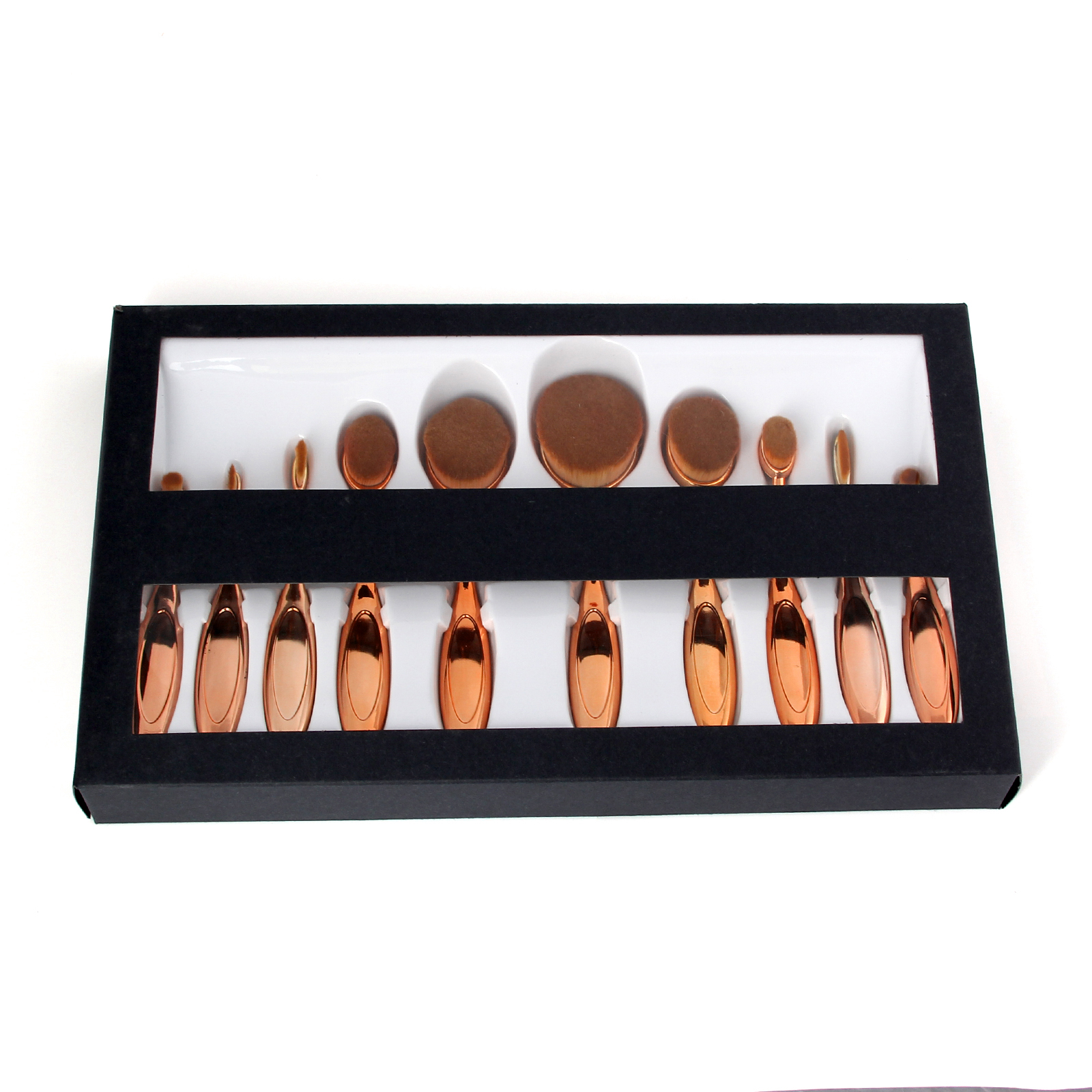 Rose Gold 10 pcs Fashionable Oval Makeup Brush Set, Facial Eyebrow Shadow foundation lip brush