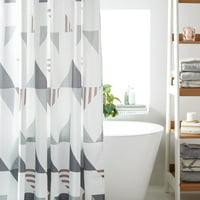 Deals on MoDRN Scandinavian Triangle Shower Curtain 72-in x 72-in