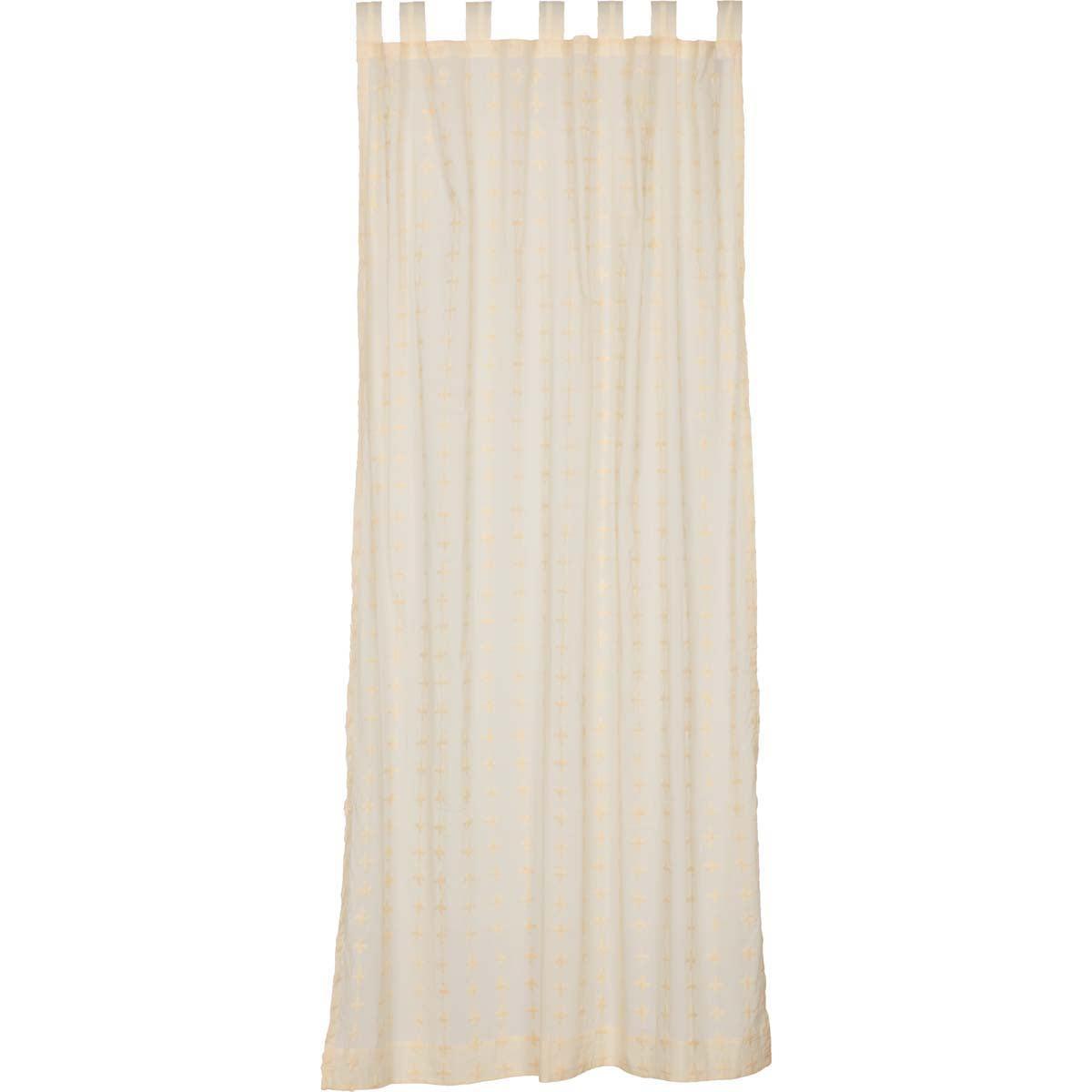 Creme White Farmhouse Curtains Willow Tab Top Cotton Tie