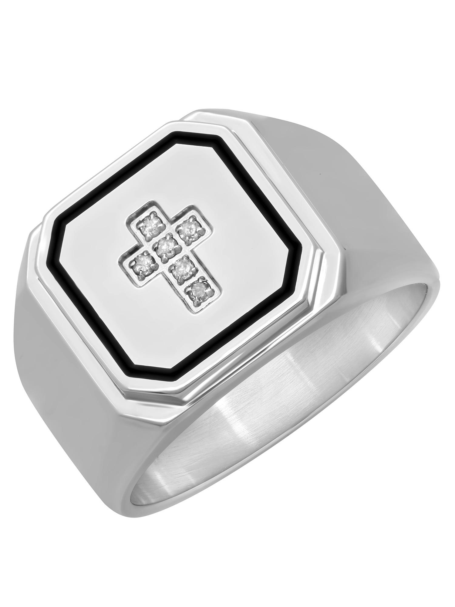 Men's Stainless Steel 8MM Diamond Accent Cross Wedding Band - Mens Ring