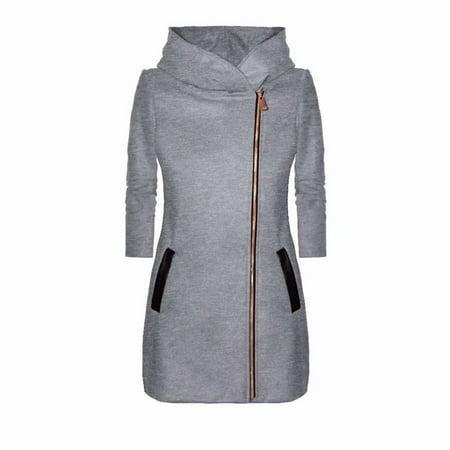 Akoyovwerve Winter Jackets for Women High Collar Zipper Long Sleeve Windproof Coats Gray