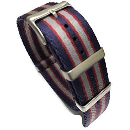 AquaNation - Blue Red Silver Omega Style Premium Heavy Duty Military Nylon NATO Strap Replacement Watch Band Brush Buckle Fit Rolex Luminox Seiko Timex Apple Watch Samsung Gear (22mm, Blue Red Silver)