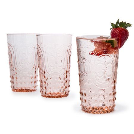 Vintage Pink Fleur de Lys Highball Drinking Glass (Drinking Eyeglasses)