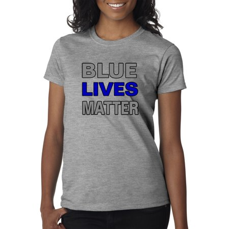 Trendy USA 738 - Women's T-Shirt Blue Lives Matter Law Enforcement Police Cops Medium Heather