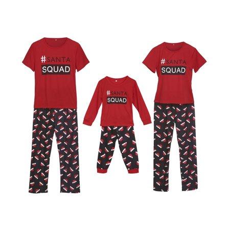 1a41c11afa Cathery - Pajamas set Family Matching Santa Squad Tops Christmas Hat Pants  Sleepwear Set Xmas Homewear - Walmart.com