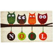 J & M Home Fashions J&M Home Fashions Christmas Noel Owls 18-inch x 30-inch Vinyl Back Doormat