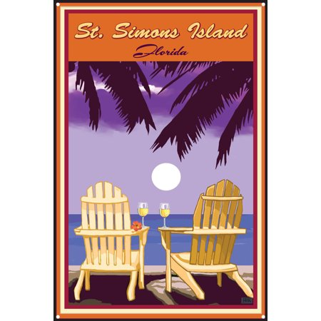 Palm Pre Metal (St. Simons Island, Georgia Adirondack Chairs Palms White Wine Metal Art Print by Joanne Kollman (12