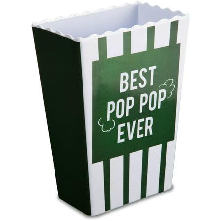 Pavilion - Best Pop Pop Ever Green Striped Melamine Vintage Style Popcorn