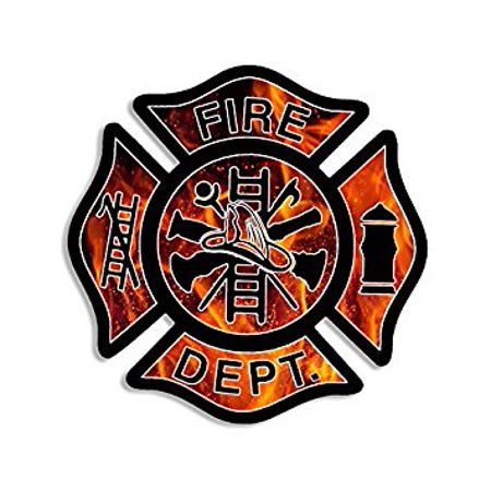 FLAMES BG Fire Dept Maltese Cross Shaped Sticker Decal (firefighter fireman) Size: 4 x 4 inch
