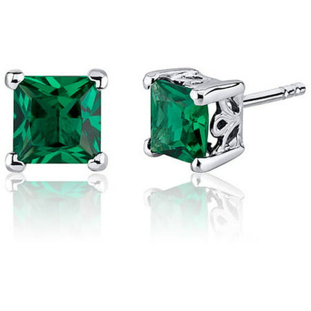 2 ct Princess Cut Green Created Emerald Stud Earrings in Sterling Silver Green Stud Earring Box