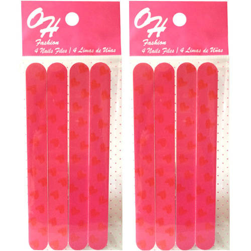 "OH Fashion 2 pack of Fashion and attractive  Nail File ""Heart style"" 8 count"