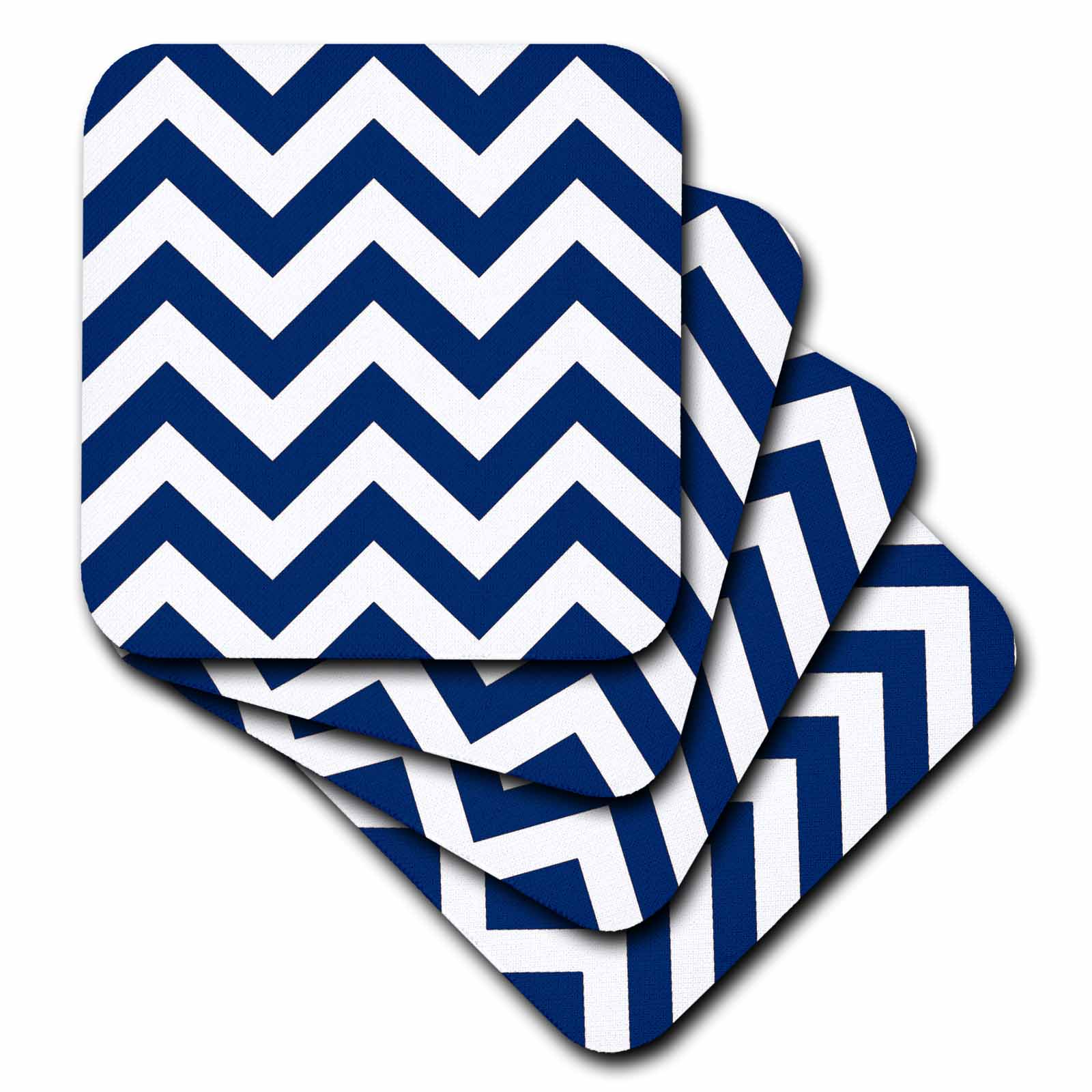 3d Rose 3drose Navy And White Chevron, Soft Coasters, Set Of 4