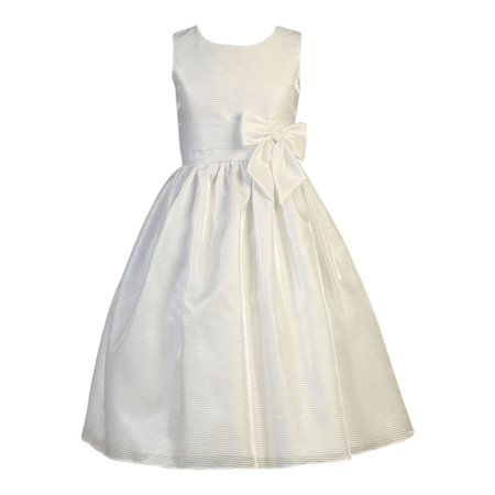 Girls White Striped Organza Satin Bow Holly Communion Dress](Holly Golightly Dress)