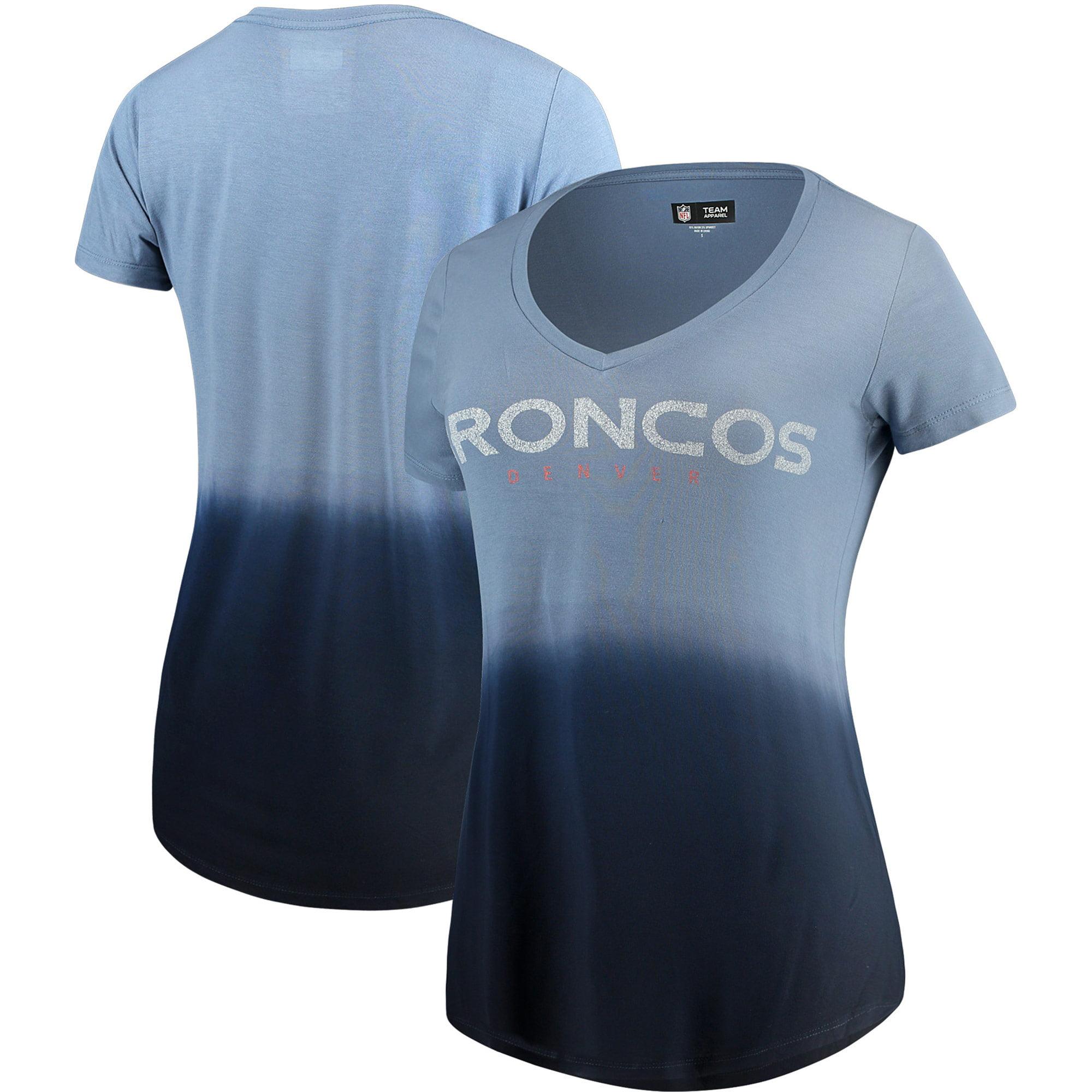 Denver Broncos 5th & Ocean by New Era Women's Dip Dye V-Neck T-Shirt - Navy